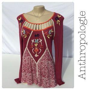 Anthropologie Magenta w/ Embroidered Floral Design
